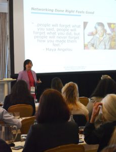 Communication skills like presenting - Caroline delivers a keynote at a legal conference